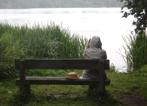 Lady resting on a bench in Ellesmere