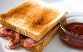 Toasted bacon butties - yum