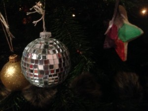 Disco ball from c.2001 next to salt dough decoration from 2011 (the year we made these for the teachers)
