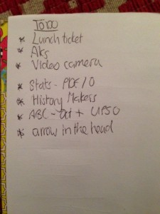 An eclectic to-do list - what is 'arrow in the head'?
