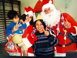 Me being Father Christmas in Japan.